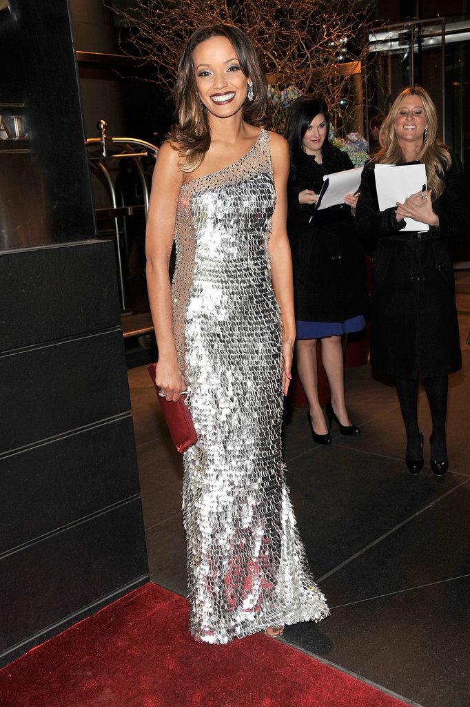 Selita Ebanks shined in a metallic silver one-shoulder gown.