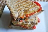 Roasted Red Pepper, Portabella and Smoked Gouda Grilled Cheese