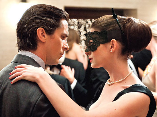 Christian Bale and Anne Hathaway in The Dark Knight Rises.  Photo courtesy of Warner Bros.