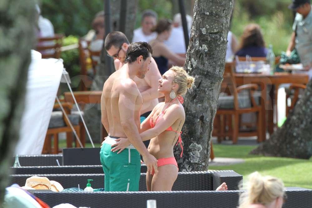 Hayden Panettiere cozied up to boyfriend, New York Jets wide receiver, Scotty McKnight, in a bikini while vacationing in Hawaii.