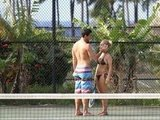 Hayden Panettiere showed her boyfriend, New York Jets wide receiver, Scotty McKnight, some love in a black bikini on the tennis court in Hawaii.