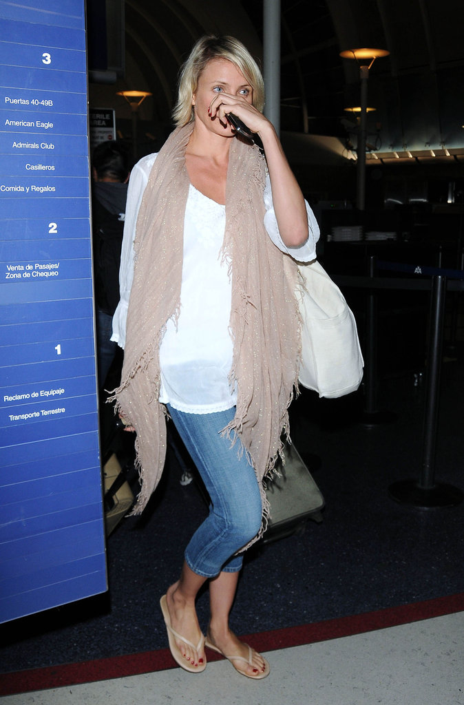 Cameron Diaz arrived at LAX.