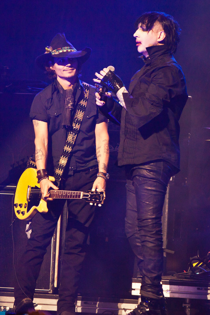 Johnny Depp played the guitar for two songs with Marilyn Manson at the Revolver Golden God Awards in LA.