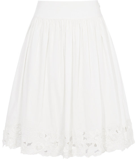 Elegant and understated, the embroidered hem imparts a crisp finish to the skirt. Reiss Giselle Embroidered Hem Skirt ($210)