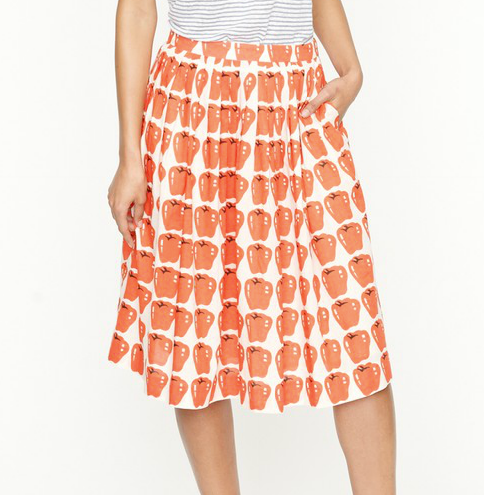 If Dolce and Gabbana's red pepper skirt makes you swoon, this skirt is the next best thing.  J Crew Pleated Jardin Skirt In Delicious Apple ($128)