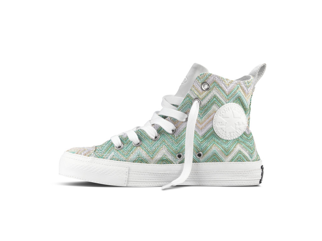 In the mood to make others green with envy? Try this collaboration style: green and white with silver and gold metallic detailing. And don't forget — you'll still have all the Converse All-Star accents you know and love (rubber toe-cap and side logos), too.