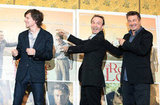 Alec Baldwin, Jesse Eisenberg and Roberto Begnini had fun joking around at a press conference in Rome.