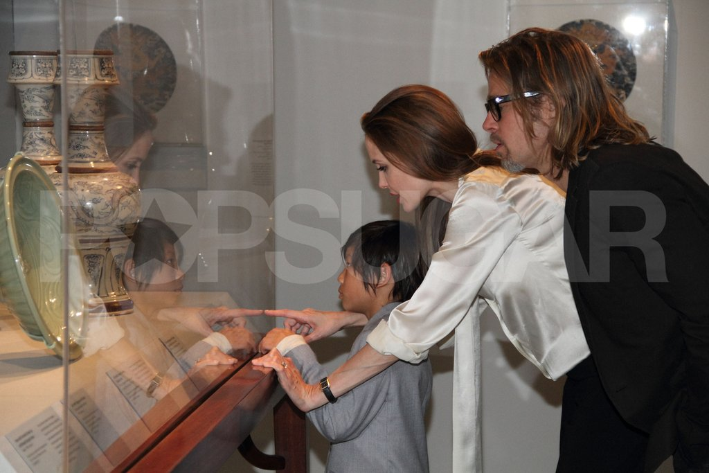 Angelina Jolie wears her engagement ring.