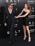 Angelina Jolie didn't want Brad Pitt to leave her side at the July 2010 LA premiere of Salt.