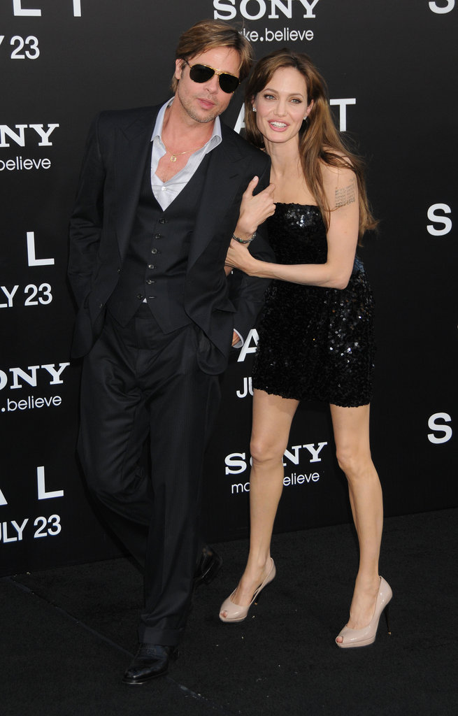 Angelina Jolie held onto Brad Pitt at her July 2010 premiere of Salt.