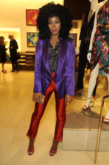 Solange Knowles showed off shiny separates at the reopening of the Ferragamo boutique in NYC.