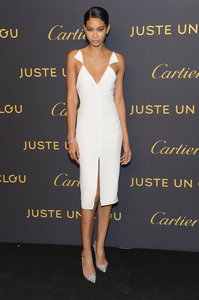 Chanel Iman was a vision in white at the Cartier bash — she wore a sexy cutout dress by Cushnie et Ochs paired with Christian Louboutin pumps.