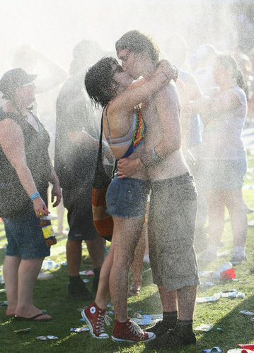 A couple got kissy at the Big Day Out Festival in Sydney, Australia.
