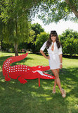 Lea Michele went for white at the Coachella Lacoste party.
