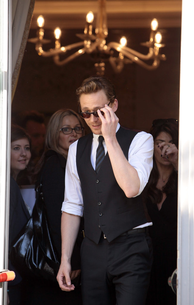 Tom Hiddleston sported shades.