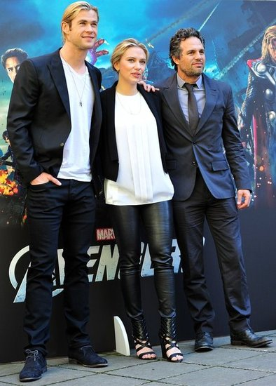 Scarlett Johansson had Mark Ruffalo and Chris Hemsworth by her side.