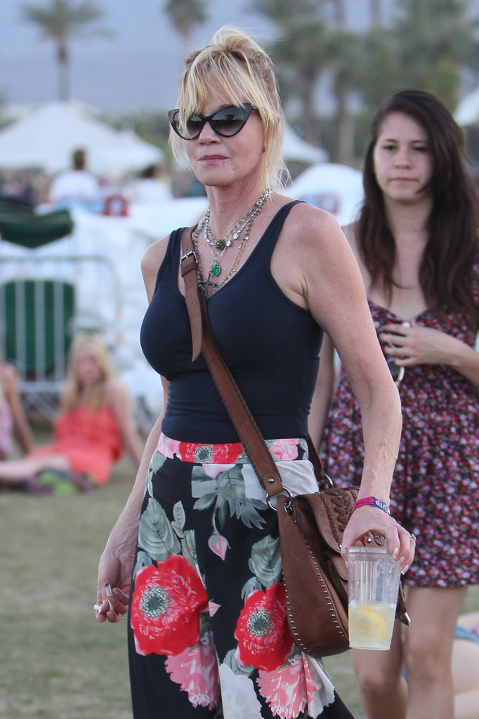 Melanie Griffith sported a pair of floral pants to the second weekend of Coachella.