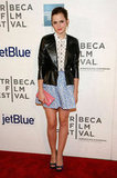 Emma Watson looked stylish at the Tribeca Film Festival.