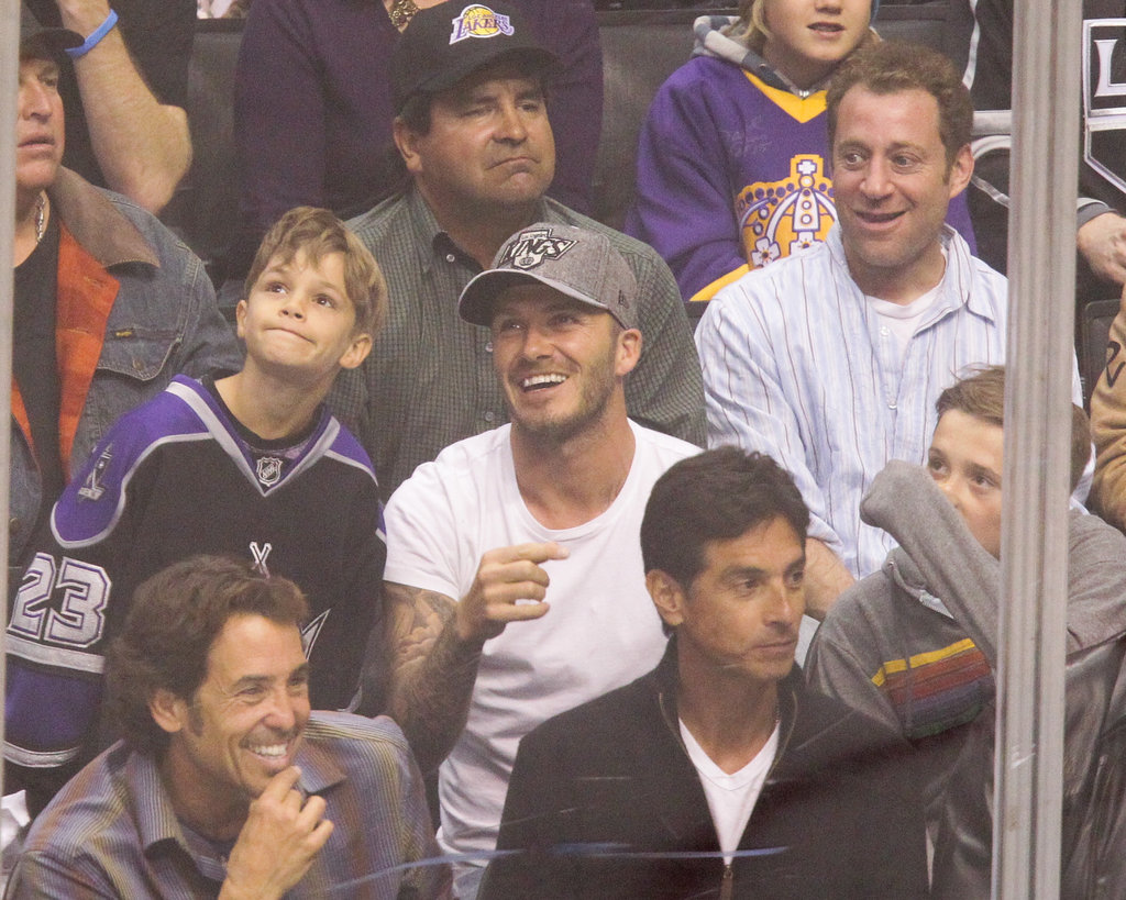 David Beckham took in a playoff hockey game at the Staples Center in LA with his sons.