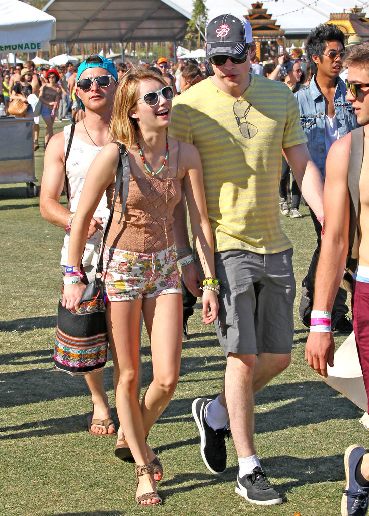 Emma Roberts and Chord Overstreet kept close on the festival grounds.