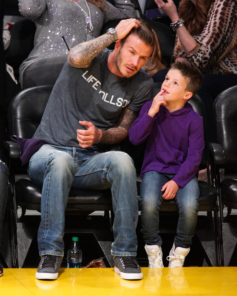 David Beckham and son Cruz Beckham enjoyed a Lakers game together in LA.