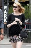 Emma Stone made her way around NYC with an Alexander Wang satchel.