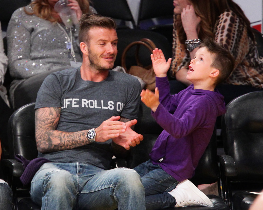David Beckham cheered on the Lakers with son Cruz Beckham at the game in LA.