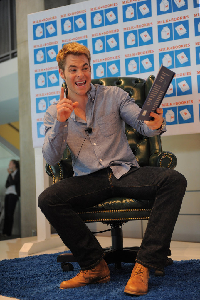Chris Pine got into character while reading to the kids.