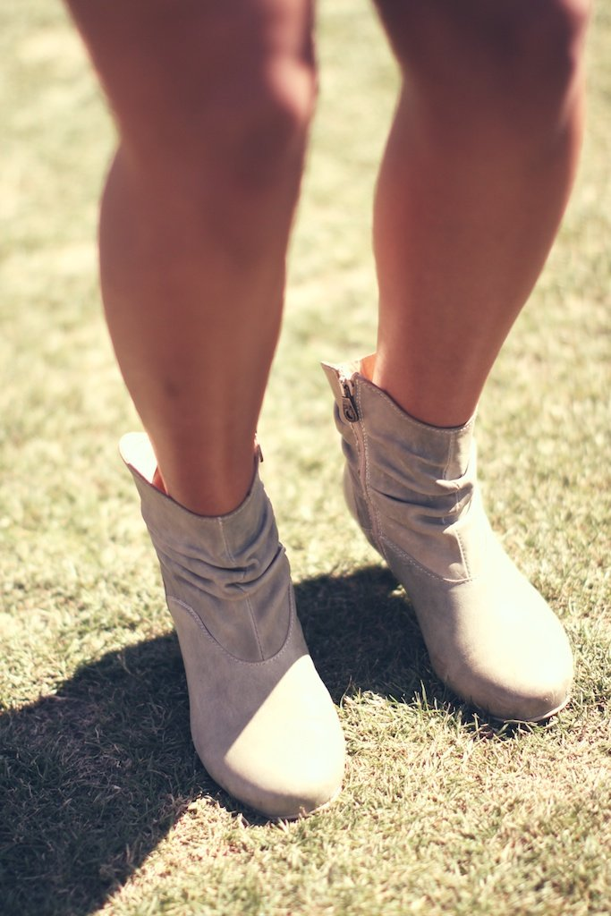 Light grey boots made for walkin' and dancing.