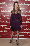 Hilary Swank looked ultrafeminine in a sheer lace Ferragamo dress.