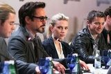 Scarlett Johansson and her castmates talked about The Avengers at a press day in Russia.