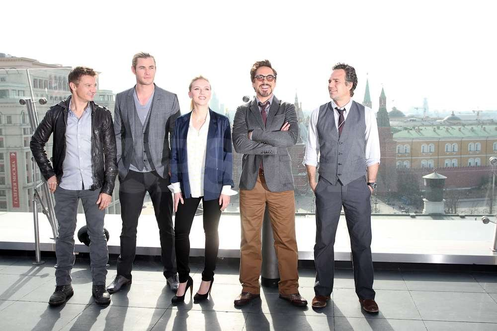 Robert Downey Jr., Mark Ruffalo, and the other Avengers lined up for a photo overlooking Moscow.