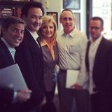 Arianna Huffington got an office visit from actor John Cusack. Source: Instagram User HuffingtonPost