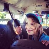 Glee's Kevin McHale snapped a photo of costars Amber Riley and Vanessa Lengies while riding a school bus. Source: Instagram User KevinMcHale
