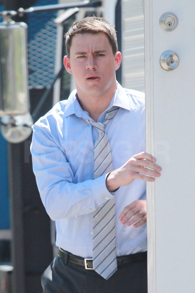 Channing Tatum wore a tie on set.