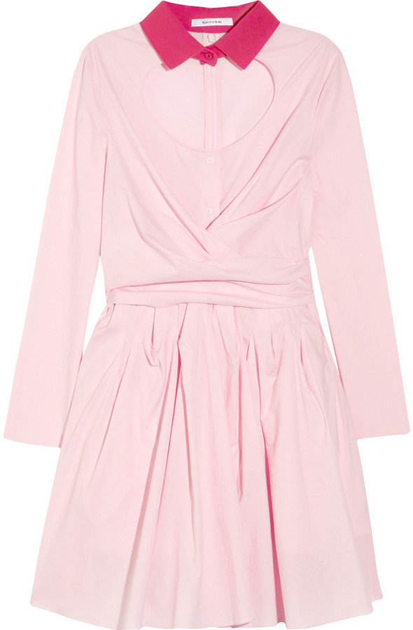 We love the sultry spin on this classic shirtdress — the open keyhole gives the girlie silhouette a kick of sex appeal.  Carven Cutout Cotton-Poplin Dress ($765)