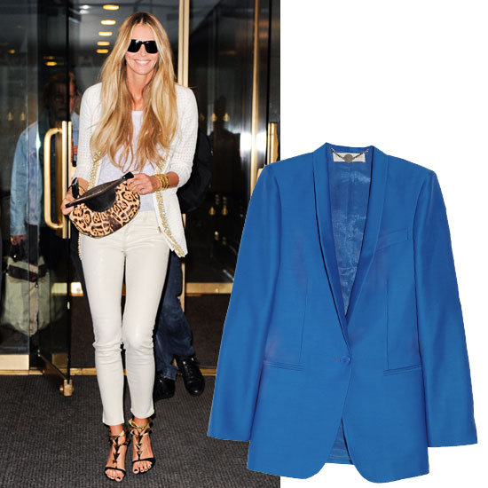 Make your head-to-toe white attire (we're thinking along the lines of a chic Elle Macpherson-inspired ensemble) pop with a bold blazer. Whether you opt for cobalt blue, magenta pink, or lemon yellow, this structured topper is guaranteed to keep your monochromatic look fresh and bright.