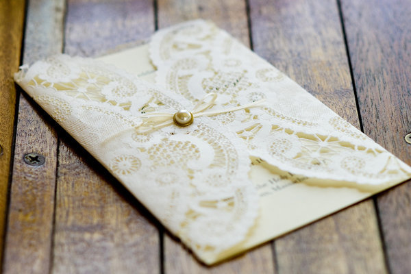 Lace-and-Button Invitation