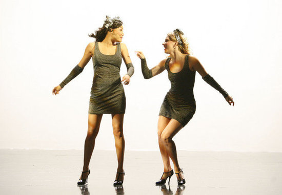 Naya Rivera as Santana and Heather Morris as Brittany on Glee.