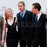 The guys towered over Scarlett Johansson.