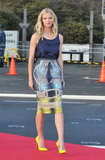 Brooklyn Decker used a pair of neoprene Louboutins to further the color play of her Peter Pilotto ensemble.