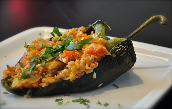 Chicken and Rice Stuffed Poblanos