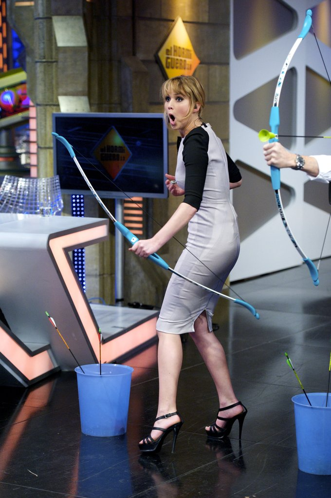 Jennifer Lawrence showed off her archery skills in Spain.