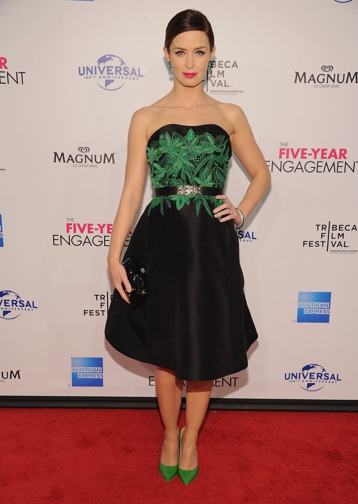 Emily Blunt wore a black belted Jason Wu dress with green embroidery to The Five Year Engagement premiere during the 2012 Tribeca Film Festival.