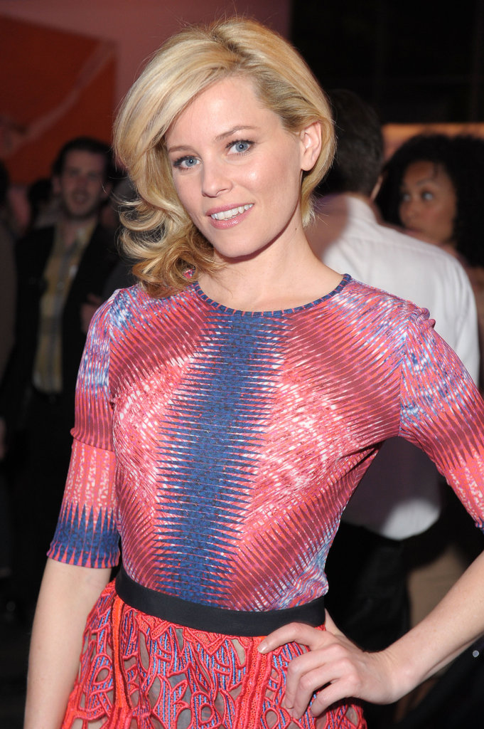Elizabeth Banks looked stunning in Spring colors at the premiere party for The Five-Year Engagement.