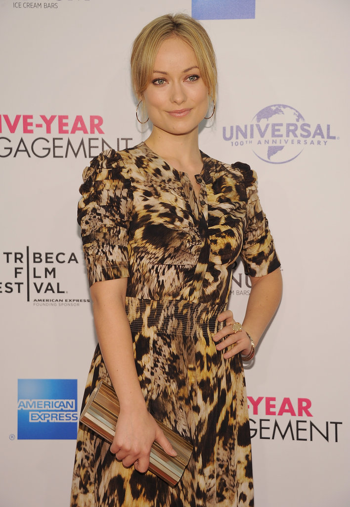 Olivia Wilde wore a Yigal Azrouel printed maxi dress to the premiere of The Five-Year Engagement during the 2012 Tribeca Film Festival.