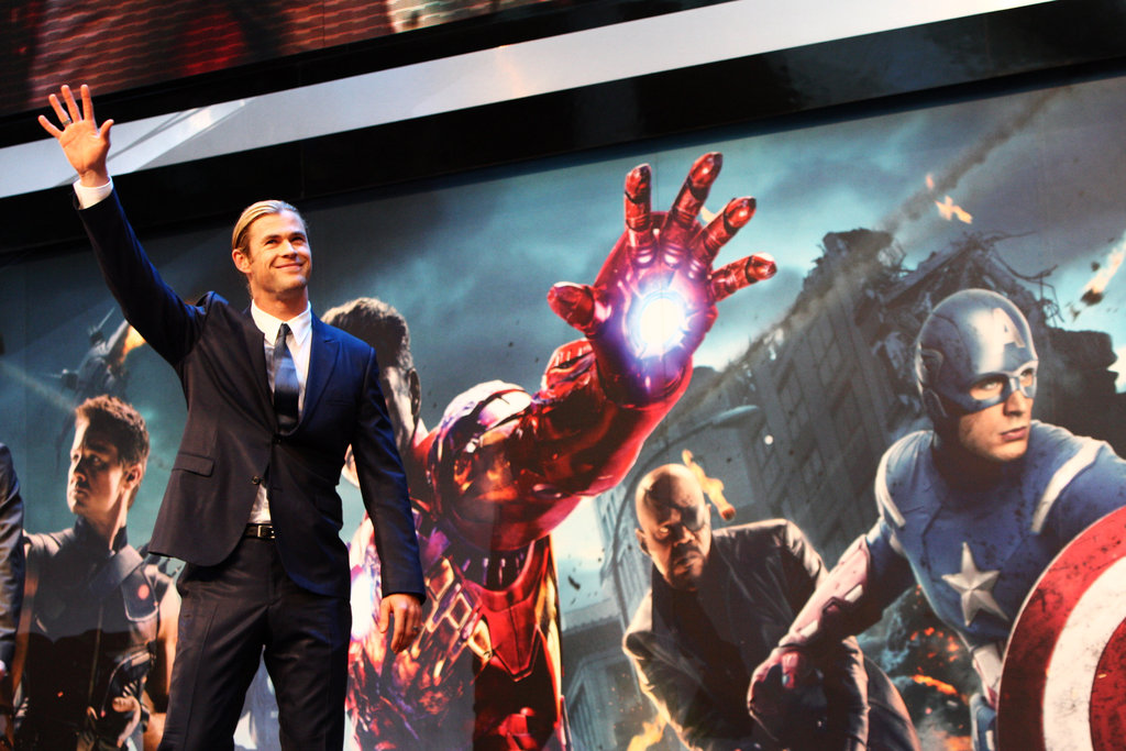 Chris Hemsworth waved from the stage at the premiere of The Avengers in London.