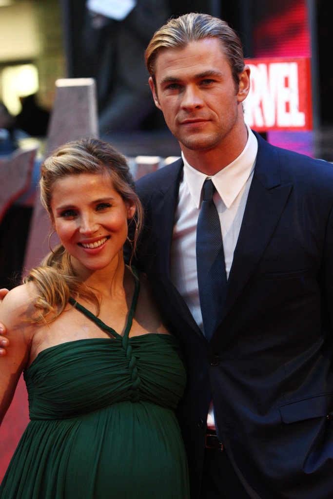 Chris Hemsworth did not leave his wife Elsa Pataky's side at the premiere of The Avengers in London.