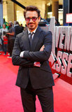 Robert Downey Jr. gave a smile at the premiere of The Avengers in London.