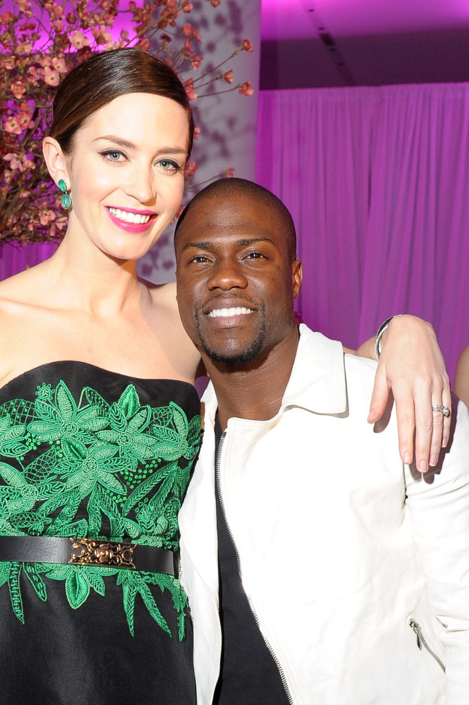 Emily Blunt posed with Kevin Hart at the premiere party for The Five-Year Engagement.